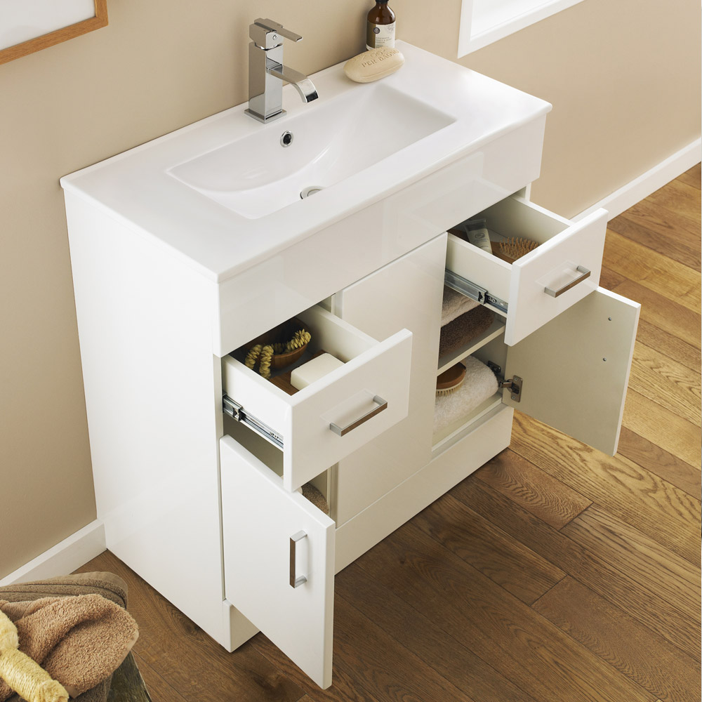 Turin Vanity Sink With Cabinet - 800mm Modern High Gloss White Profile Large Image