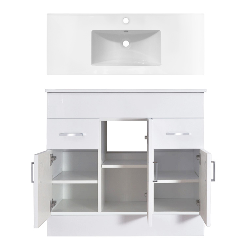 Turin Vanity Sink With Cabinet - 1000mm Modern High Gloss White Feature Large Image