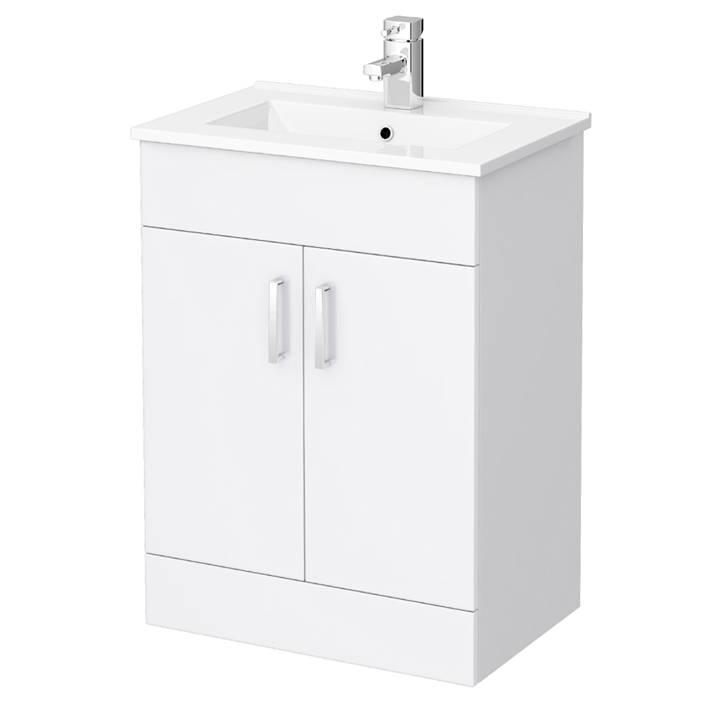 Turin High Gloss White Vanity Unit Bathroom Suite W1100 x D400/200mm Profile Large Image