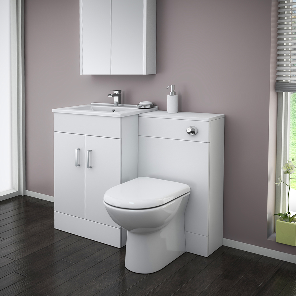 Turin High Gloss White Vanity Unit Bathroom Suite W1100 X D400 200mm At Victorian Plumbing Uk