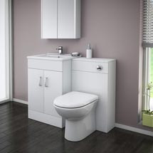 Turin High Gloss White Vanity Unit Bathroom Suite W1100 x D400/200mm Medium Image