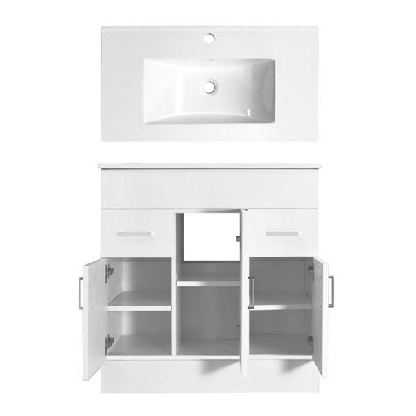 Turin High Gloss White Vanity Unit Bathroom Suite W1300 x D400/200mm profile large image view 3