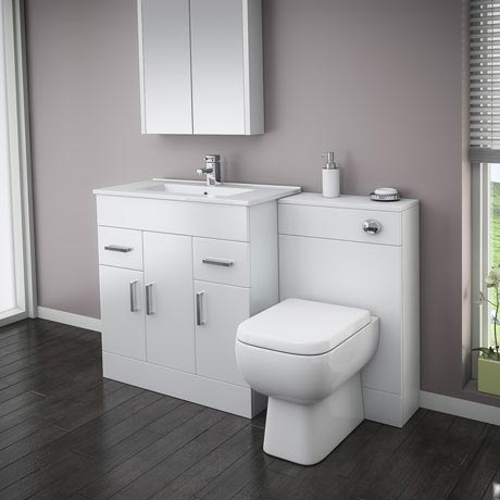 Turin High Gloss White Vanity Unit Bathroom Suite W1300 x D400/200mm