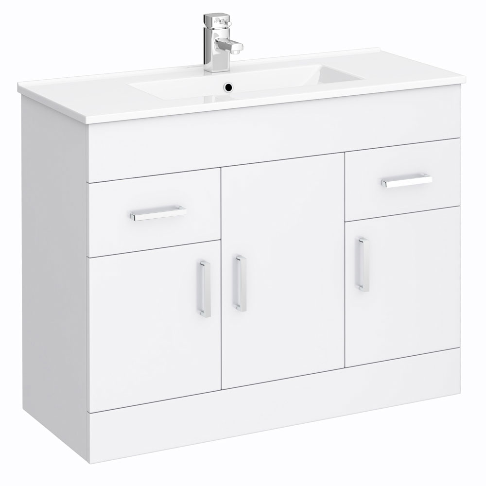Turin High Gloss White Vanity Unit Bathroom Suite W1500 x D400/200mm profile large image view 2