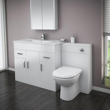 Turin High Gloss White Vanity Unit Bathroom Suite W1500 x D400/200mm