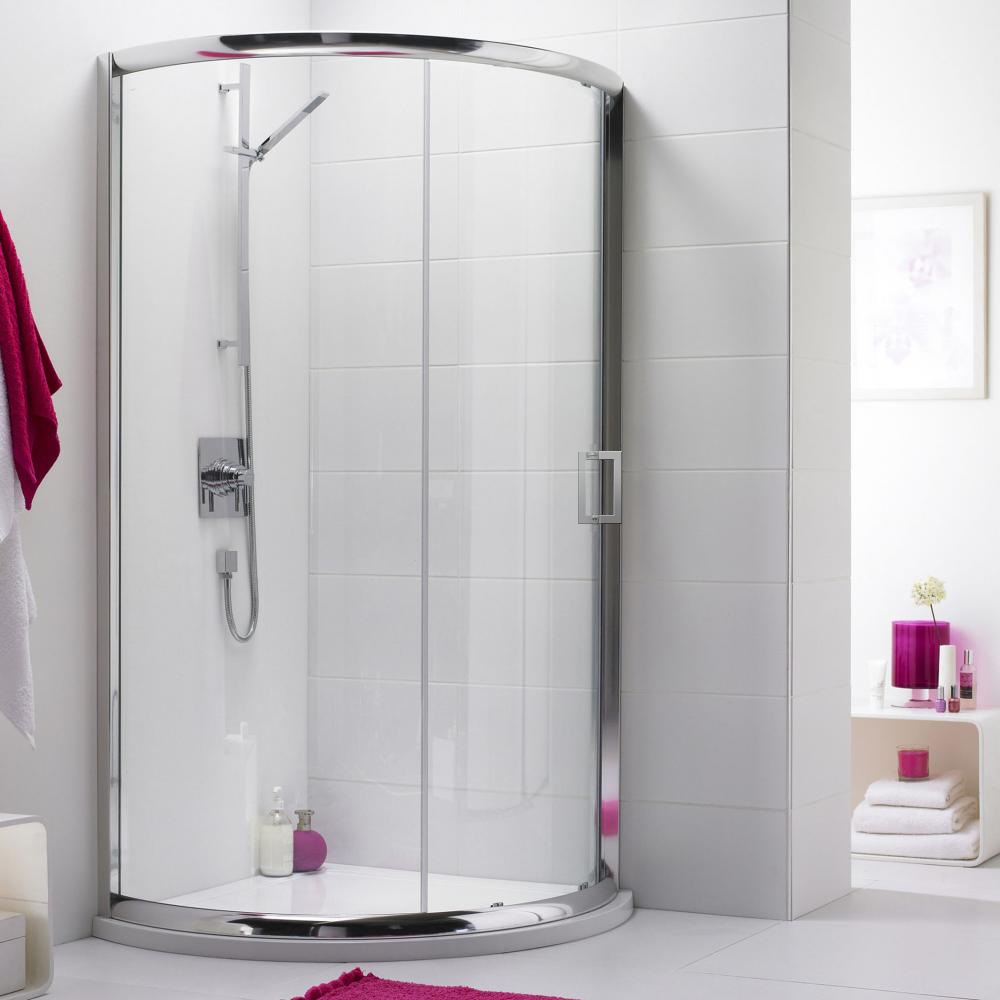 Turin 860 x 860mm Quadrant Shower Enclosure + Pearlstone Tray profile large image view 1