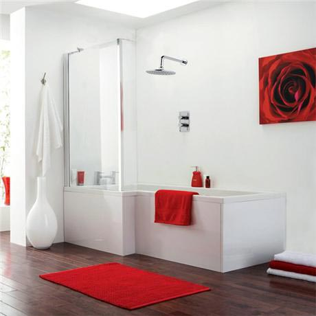 Modena Square Shower Bath & Fixed Screen - Left hand option