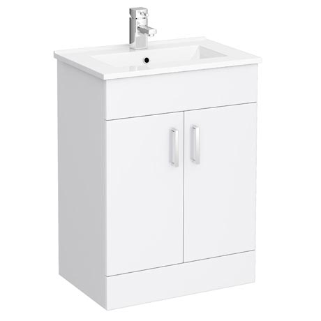 Turin Vanity Sink With Cabinet - 600mm Modern High Gloss White