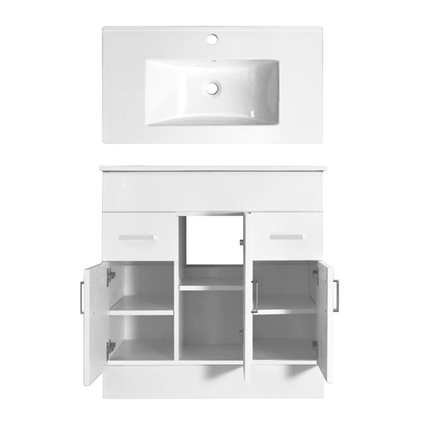 Turin Vanity Sink With Cabinet - 800mm Modern High Gloss White Feature Large Image