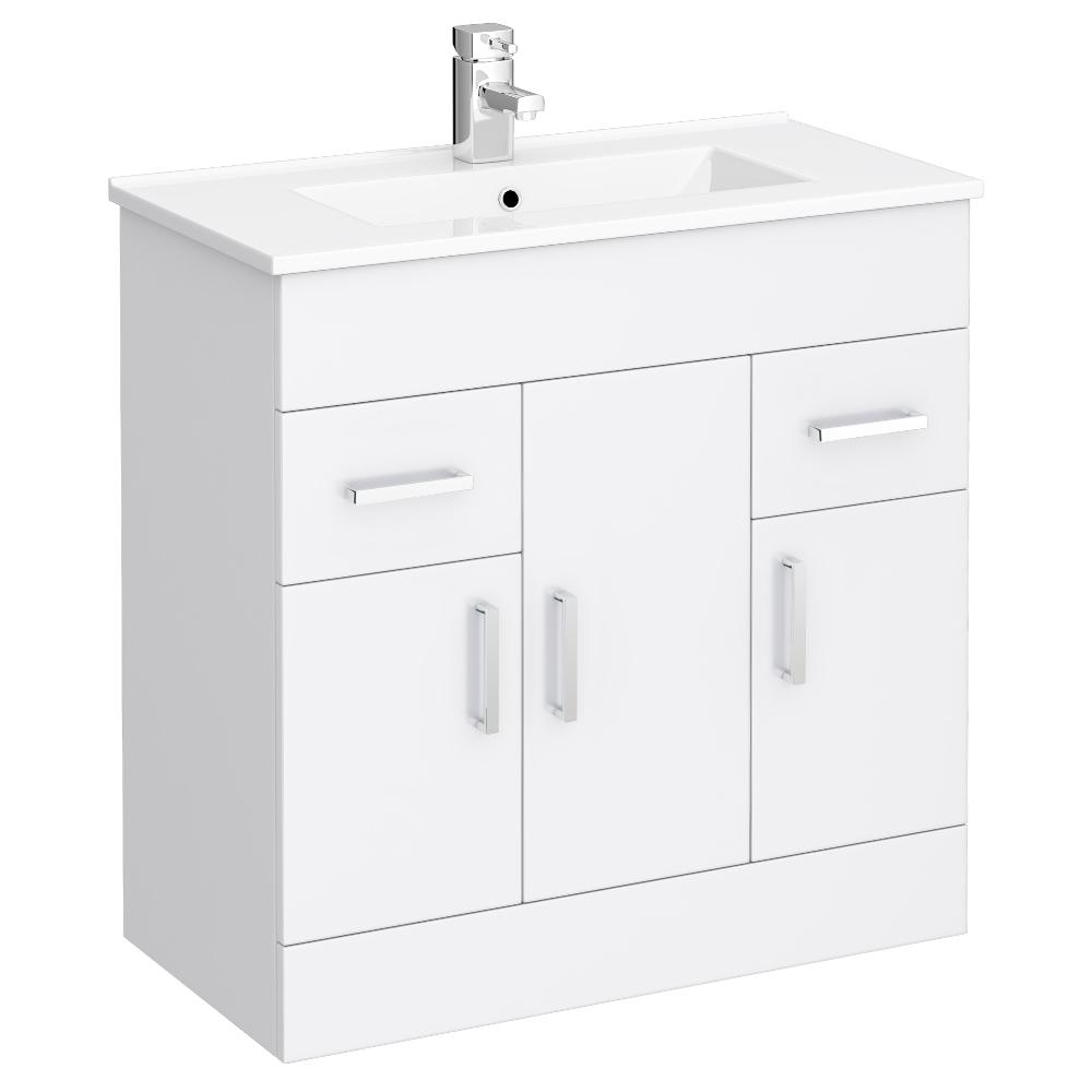 Turin Vanity Sink With Cabinet - 800mm Modern High Gloss White Large Image