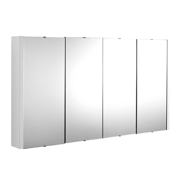 Turin White Minimalist 4 Door Mirror Cabinet - W1200 x D110mm profile large image view 1