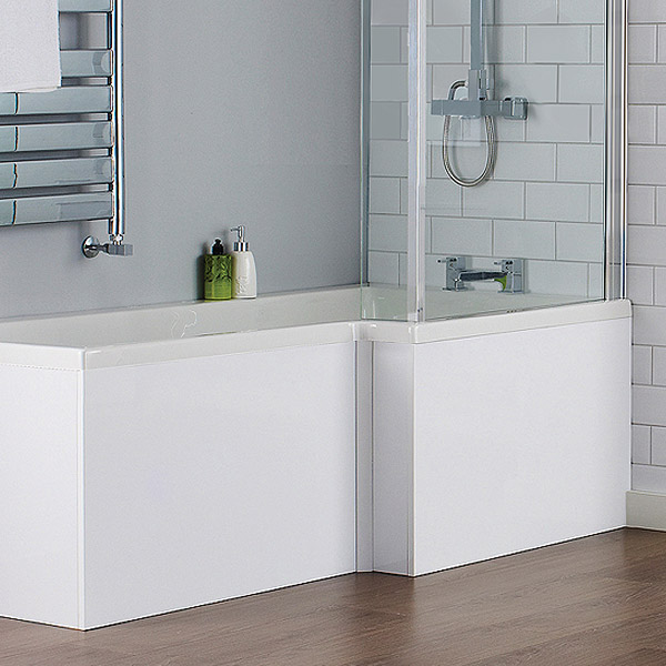 Turin White Offset MDF Front Bath Panel - NMP135 Profile Large Image