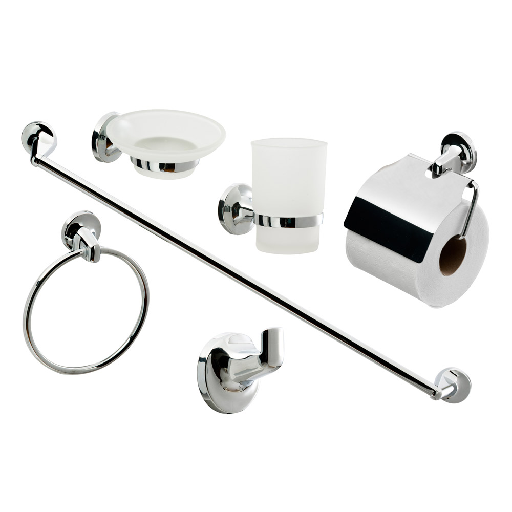 Modern 6 piece bathroom accessory set at victorian plumbing uk for Bathroom fittings set