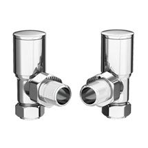 Modern Angled Radiator Valves - Chrome Medium Image