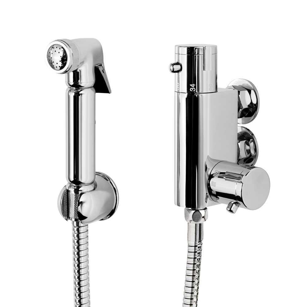 Modern Douche Thermostatic Bar Valve with Spray Kit - Chrome Large Image