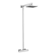 Modern Square Thermostatic Bar Shower Valve & Riser Kit - Chrome Medium Image
