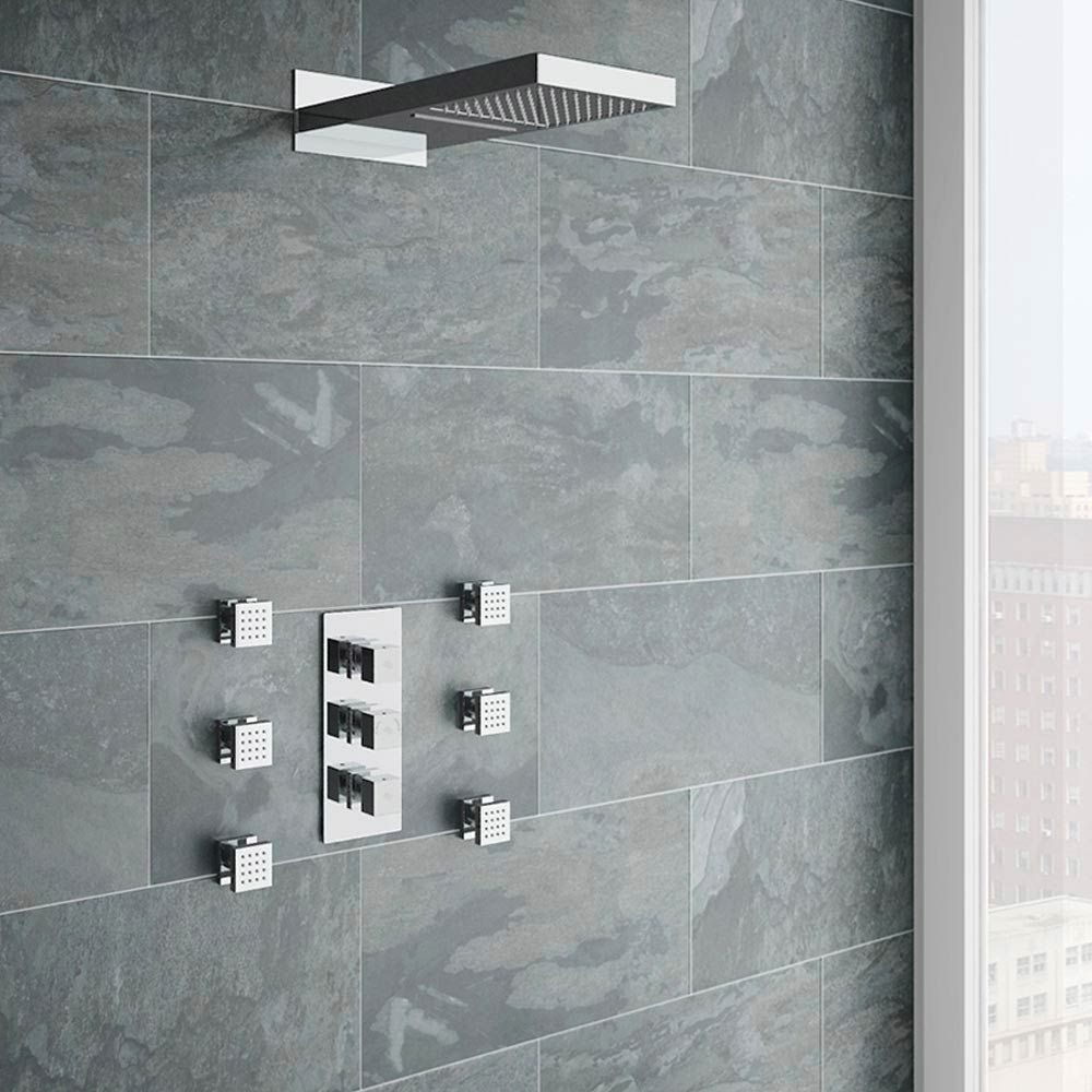 Modern Square Triple Valve with Diverter, Fixed Water Blade Shower Head & 6 Body Jets Large Image