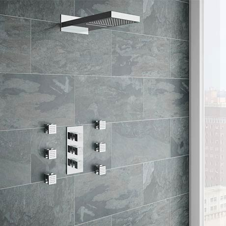 Modern Square Triple Valve with Diverter, Fixed Water Blade Shower Head & 6 Body Jets