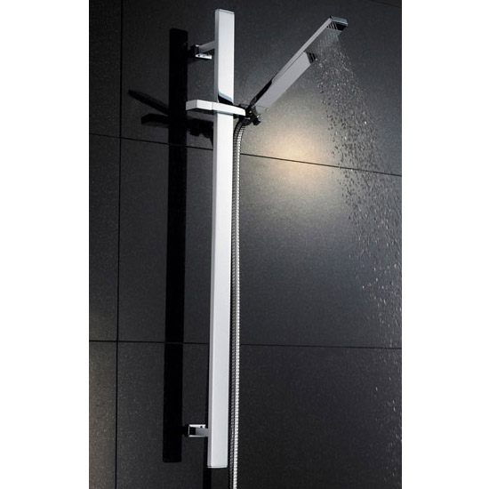 Modern Square Triple Valve with Diverter, Ceiling Mounted Square Shower Head, 4 Body Jets + Slider