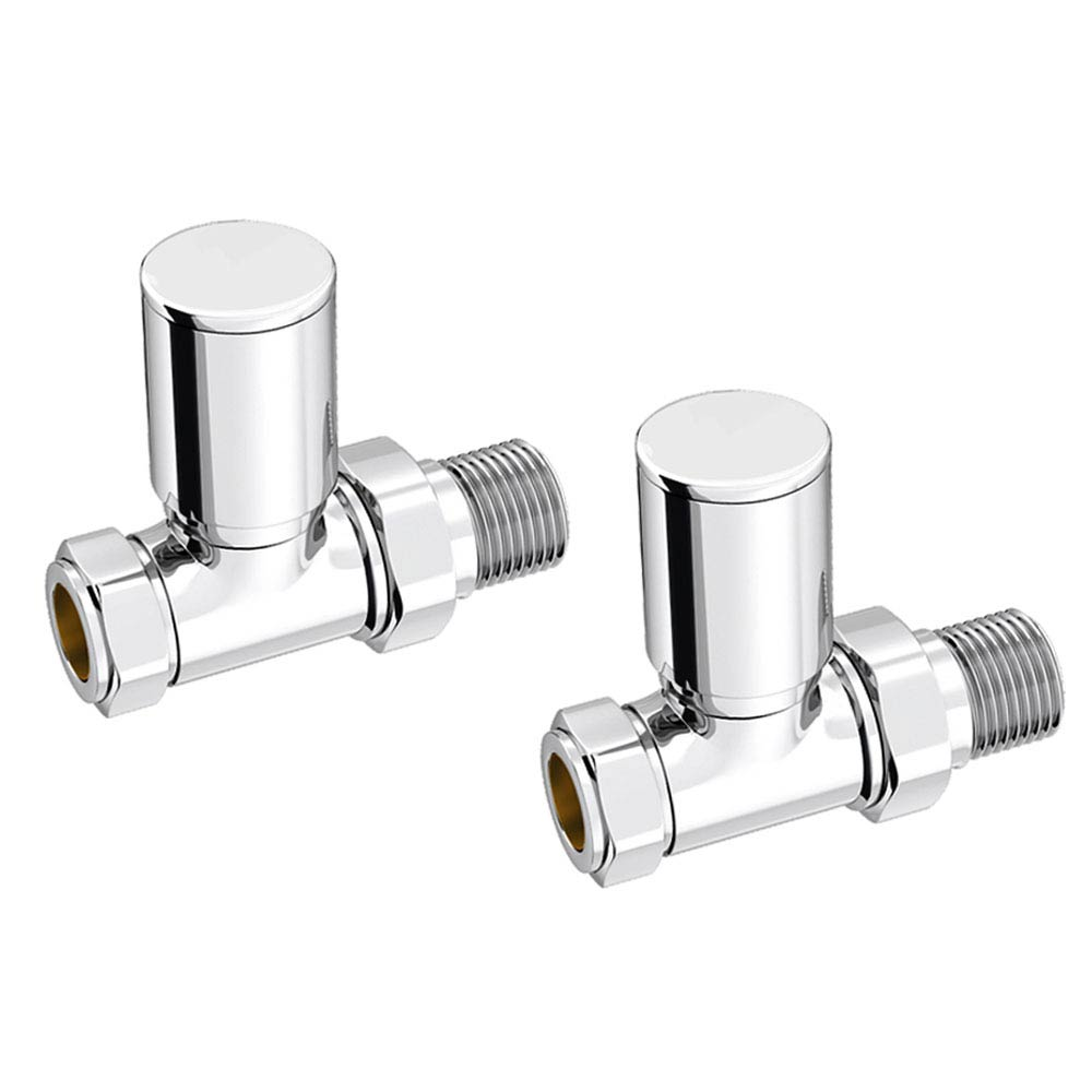 Modern Straight Radiator Valves - Chrome Large Image