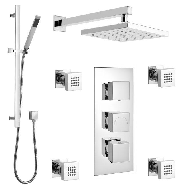 Modern Triple Outlet Shower Pack with Head, 4 Body Jets + Slider Rail profile large image view 1