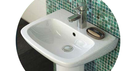Modern Bathroom Sink with Chrome Tap and Soap Holder