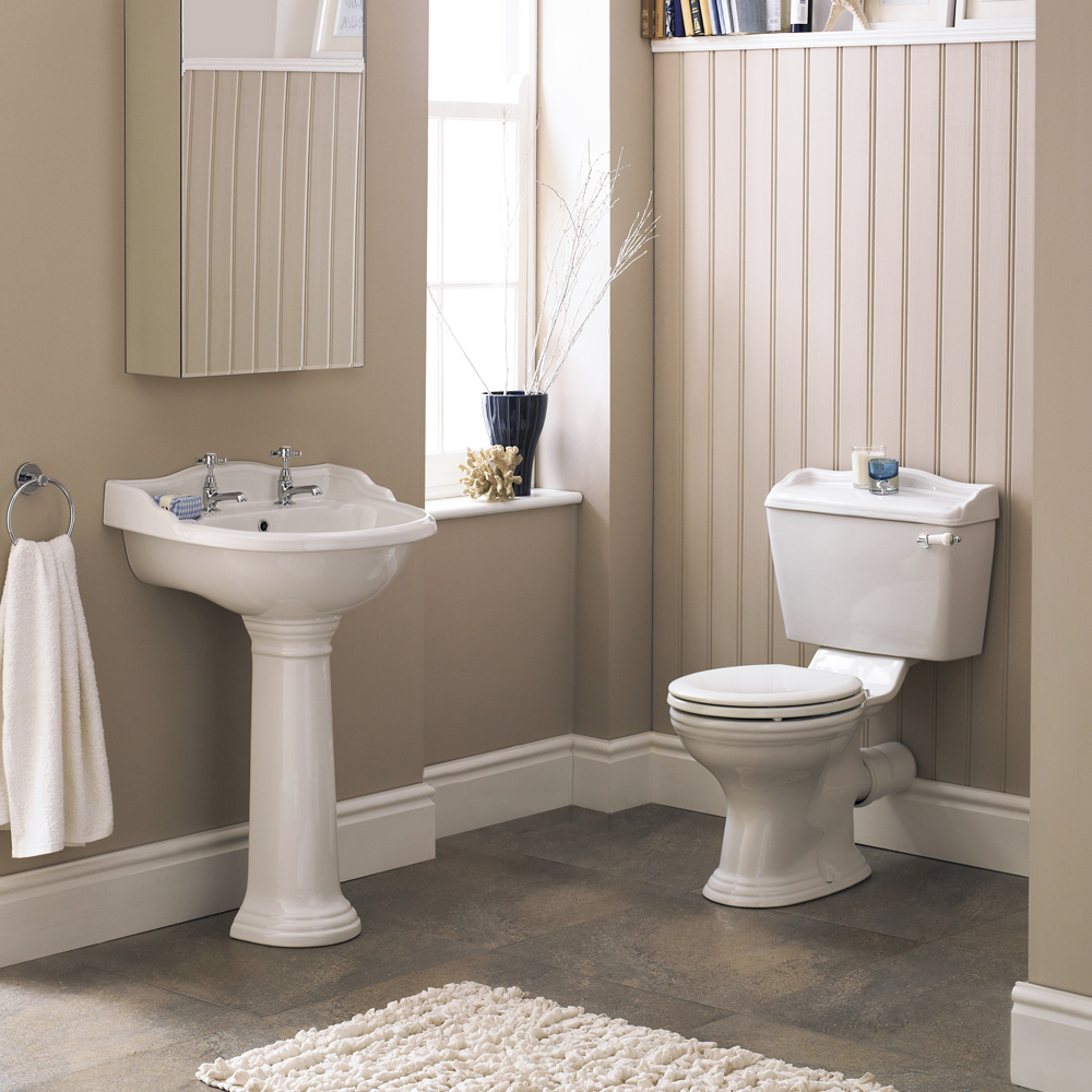 Monaco Traditional Basin with Pedestal (2 Tap Hole - Various Sizes) profile large image view 2