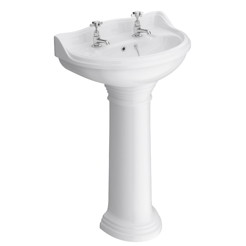 Monaco Traditional Basin with Pedestal 2 Tap Hole