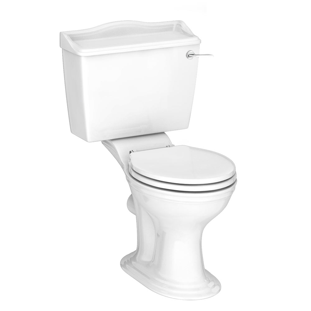 Monaco Traditional Close Coupled Toilet + Soft Close Seat profile large image view 1
