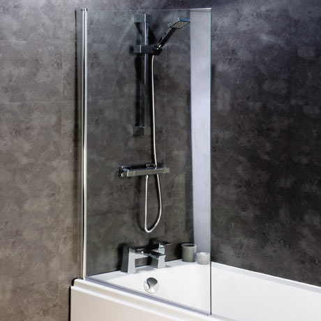 Montreal 8mm Glass Hinged Square Bath Screen (800 x 1400mm)