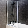 Montreal 8mm Glass Hinged Square Bath Screen (800 x 1400mm) profile small image view 1