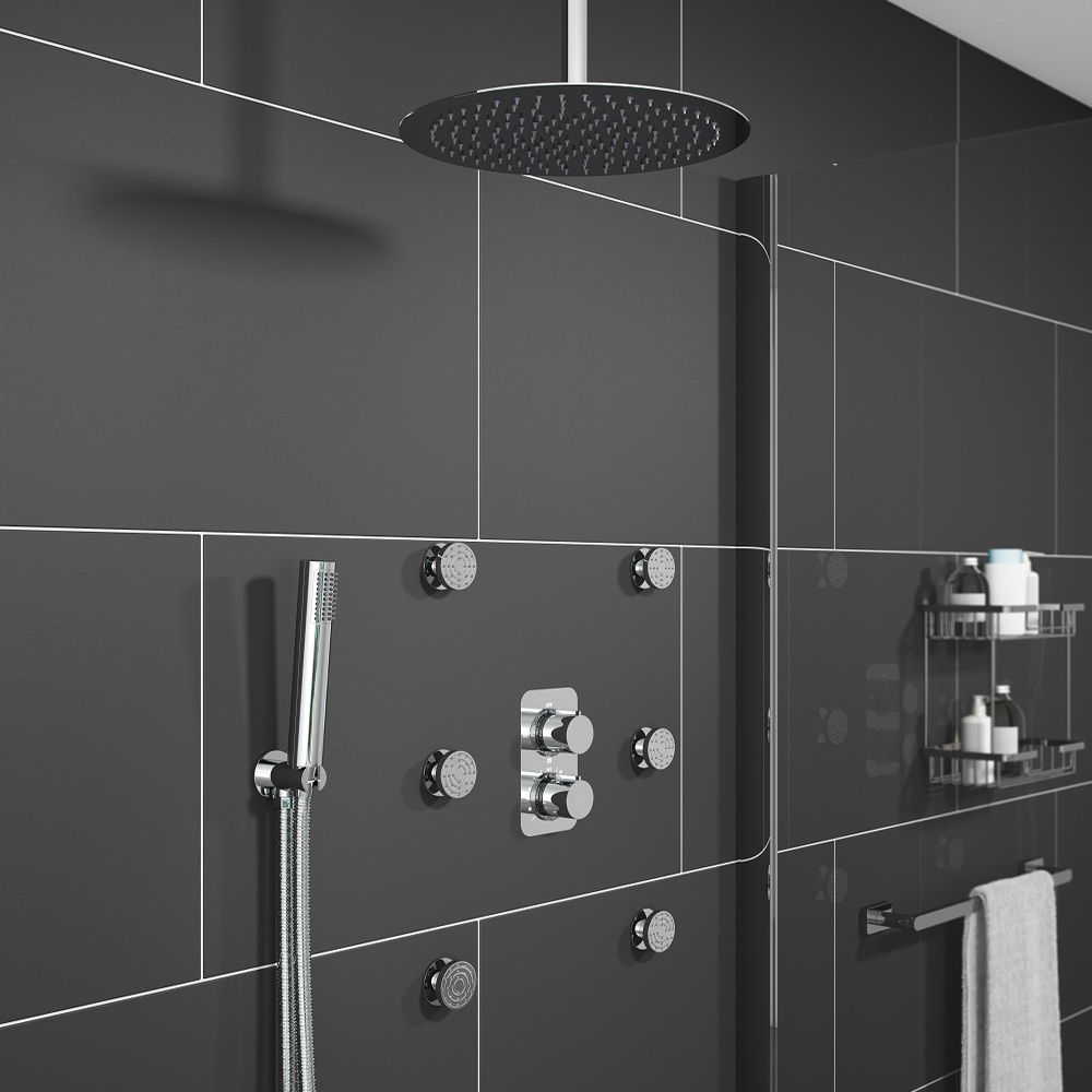 Montreal Modern Shower Package (Fixed Head, Ceiling Mounted Arm ...