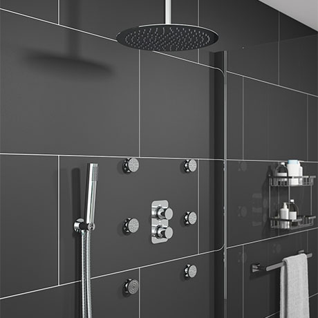 Montreal Modern Shower Package (Fixed Head, Ceiling Mounted Arm, Handset & 6 Body Jets)