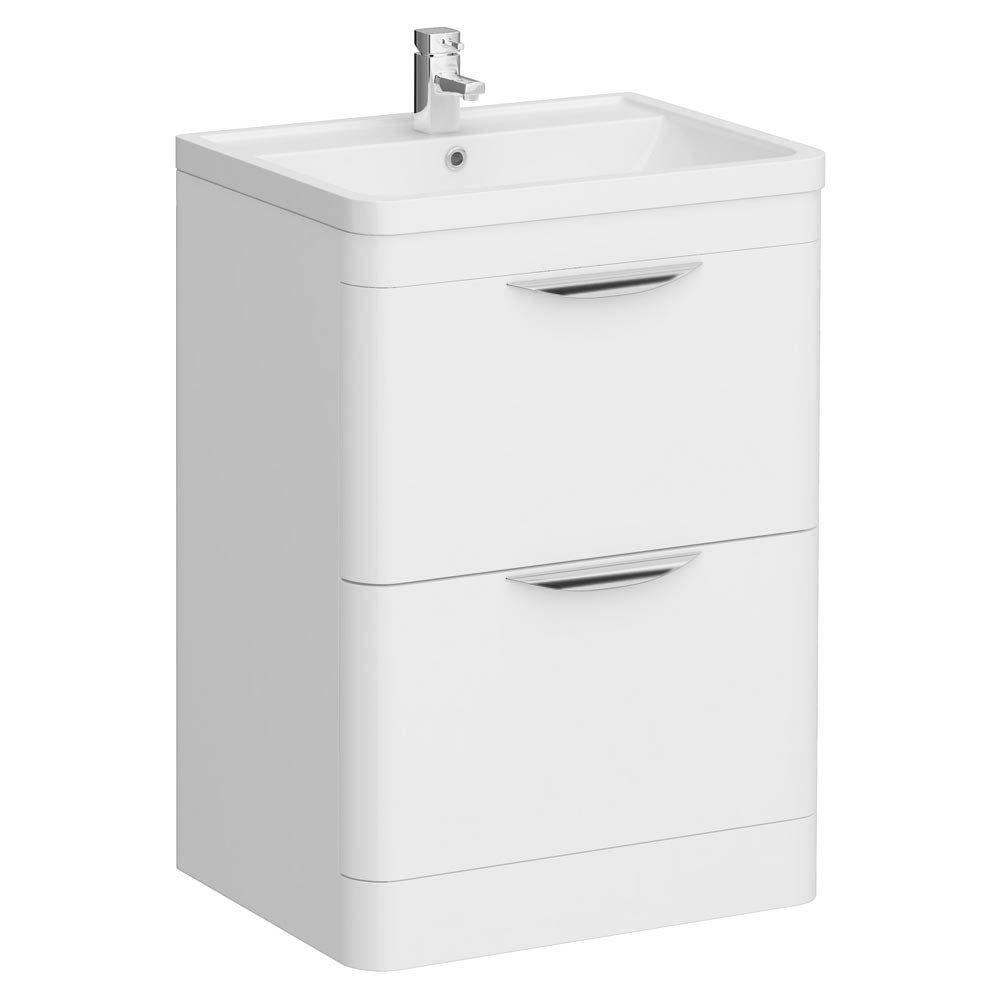 Bathroom Vanity Unit And Sink. Monza Floor Standing Vanity Unit w  Basin W600 x D445mm at Victorian Plumbing UK
