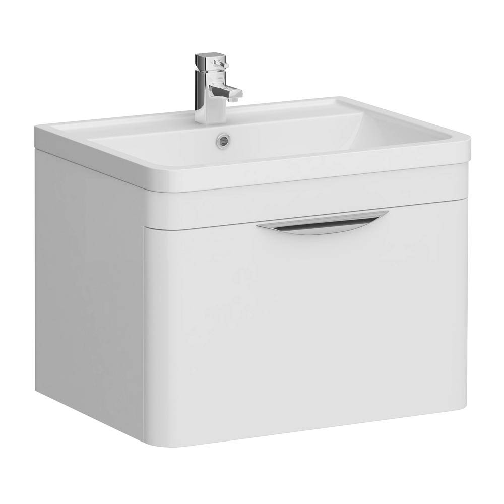 Monza Wall Hung 1 Drawer Vanity Unit with Basin W600 x D445mm Large Image
