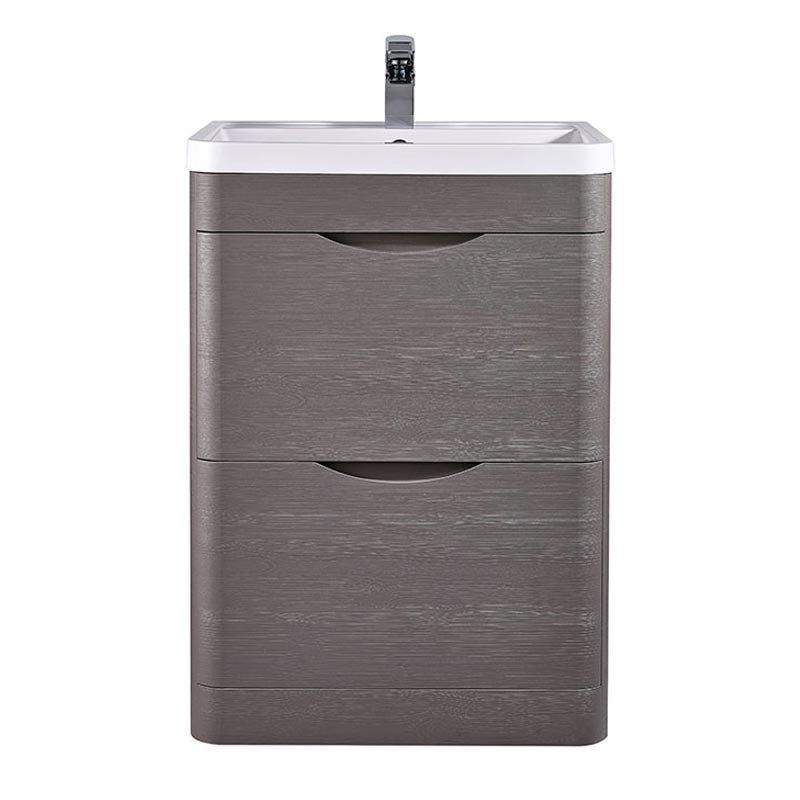 Monza 600mm Floor Standing Vanity Unit (Stone Grey Woodgrain - Depth 450mm) Large Image