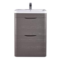 Monza 600mm Floor Standing Vanity Unit (Stone Grey Woodgrain - Depth 450mm) Medium Image