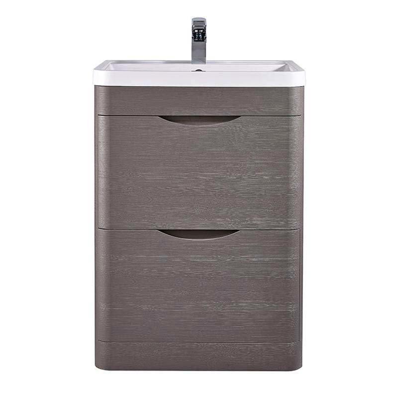 Monza 600mm Floor Standing Vanity Unit (Stone Grey Woodgrain - Depth 450mm)  Standard Large Image