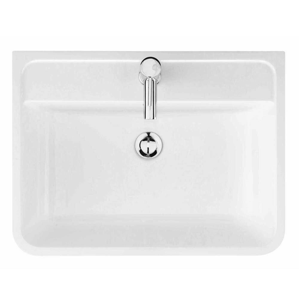 Monza 600mm Floor Standing Vanity Unit (Stone Grey Woodgrain - Depth 450mm)  In Bathroom Large Image