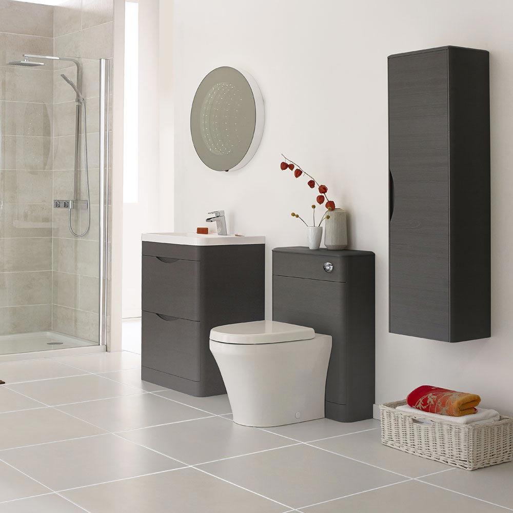 Monza 600mm Floor Standing Vanity Unit (Stone Grey Woodgrain - Depth 450mm)  Profile Large Image