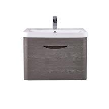 Monza 600mm Wall Hung 1 Drawer Vanity Unit (Stone Grey Woodgrain - Depth 450mm) Medium Image