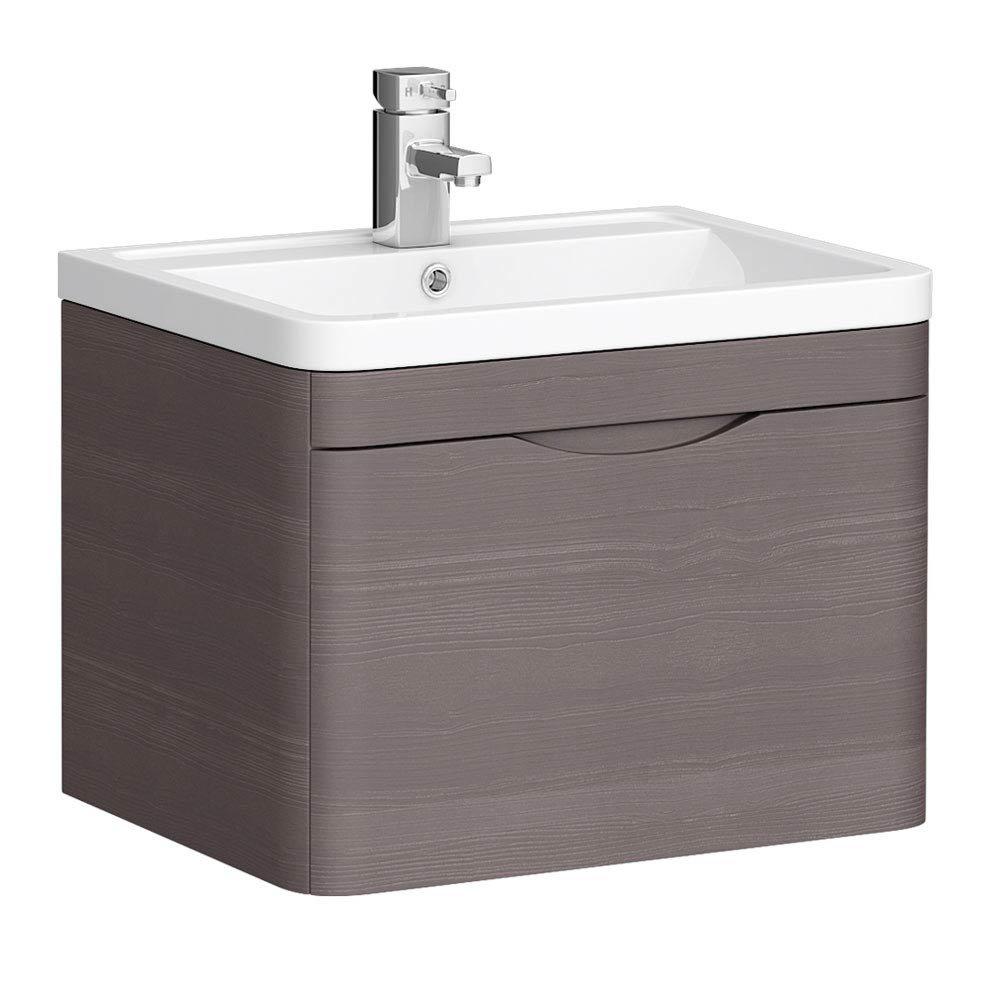 Monza 600mm Wall Hung 1 Drawer Vanity Unit (Stone Grey Woodgrain - Depth 450mm) profile large image view 1