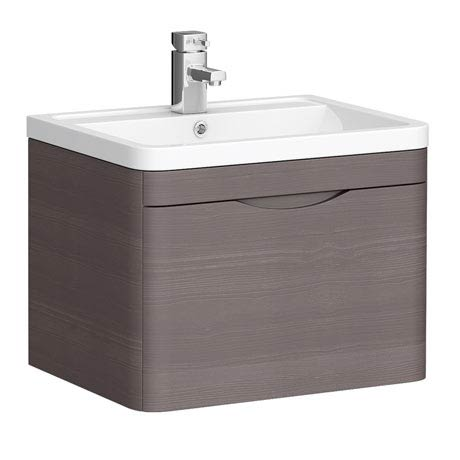 Monza 600mm Wall Hung 1 Drawer Vanity Unit (Stone Grey Woodgrain - Depth 450mm)