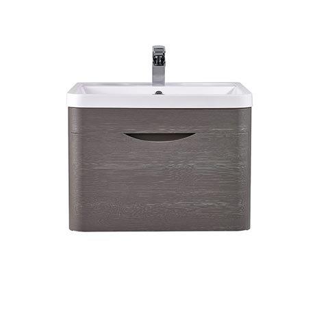 Monza 600mm Wall Hung 1 Drawer Vanity Unit (Stone Grey Woodgrain - Depth 450mm)