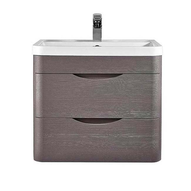 Monza 600mm Wall Hung 2 Drawer Vanity Unit (Stone Grey Woodgrain - Depth 450mm) profile large image view 2