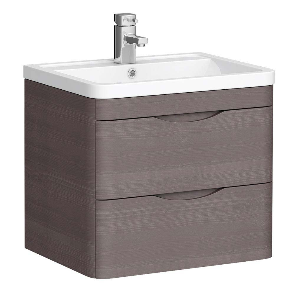 Monza 600mm Wall Hung 2 Drawer Vanity Unit (Stone Grey Woodgrain - Depth 450mm) profile large image view 1