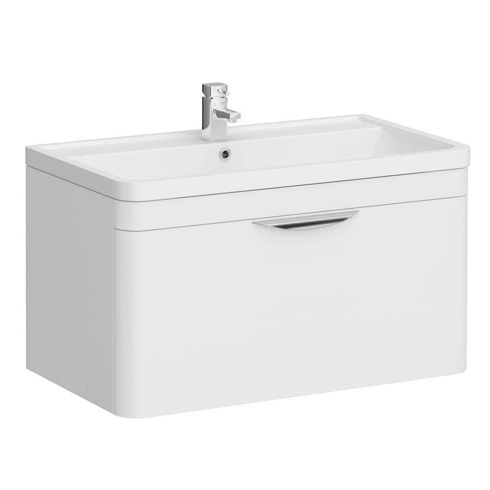 Monza Wall Hung 1 Drawer Vanity Unit with Basin W800 x D445mm Large Image