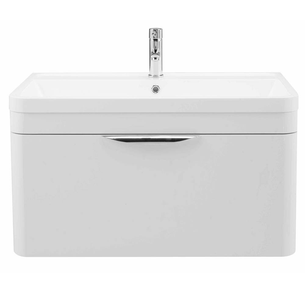 Monza Wall Hung 1 Drawer Vanity Unit with Basin W800 x D445mm profile large image view 2