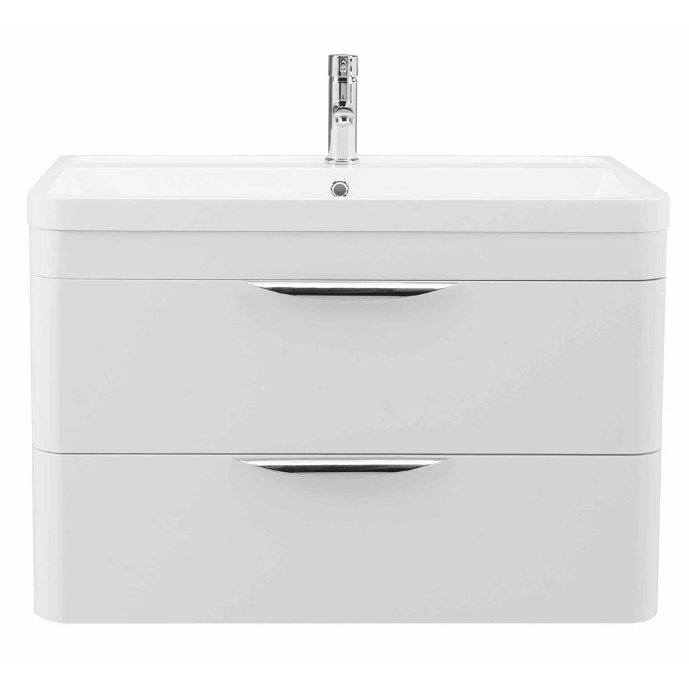 Monza Wall Hung 2 Drawer Vanity Unit with Basin W800 x D445mm profile large image view 3