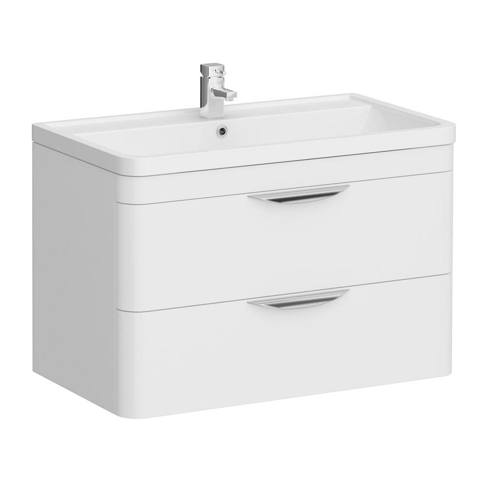 Monza Wall Hung 2 Drawer Vanity Unit with Basin W800 x D445mm Large Image